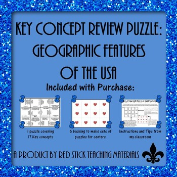 Geographic Features of the USA  Key Concept Puzzle