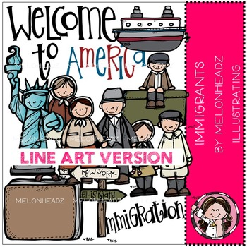 Melonheadz: Immigrants clip art - LINE ART