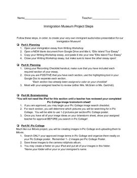 Immigration Museum Packet