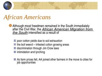 Immigration, Nativism, Boss Tweed,African American Migration: SC Standard 4.5