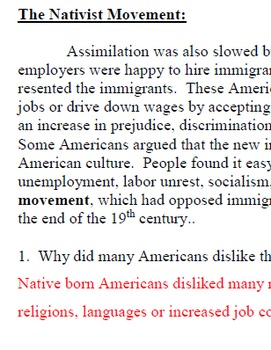 Immigration - Nativism and Quotas  - Worksheet with key
