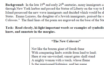 "Immigration - ""New Colossus"" poetry"