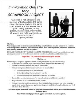 Immigration Oral History Scrapbook Project