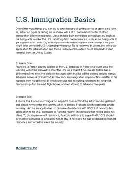Immigration - Project Based Learning