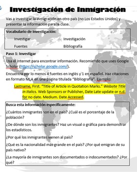 Immigration Research Project for Spanish Class