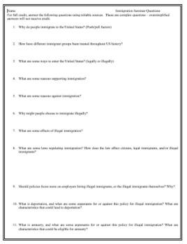 Immigration Seminar Discussion Questions