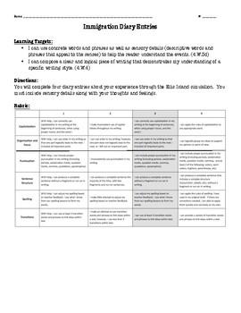 Immigration Simulation Diary Summative Graphic Organizer and Rubric