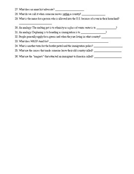 Immigration Terms Diagram and Contest