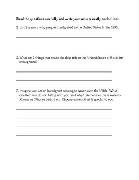 Immigration Test & Answer Key