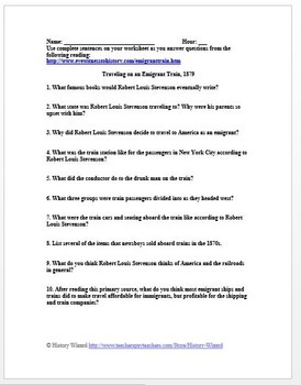 Immigration: Traveling on an Emigrant Train, 1879 Primary Source Worksheet