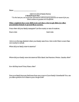 Immigration Unit Interview Worksheet for Family History Presentation