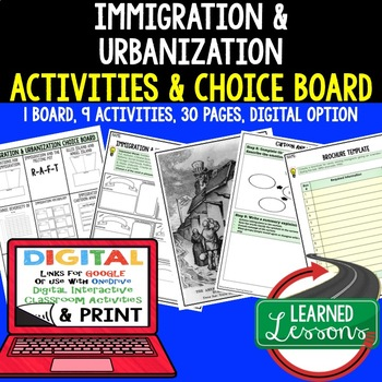 US History Immigration & Urbanization Choice Board & Activities with Google Link
