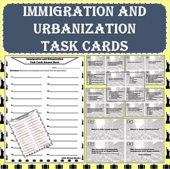 Immigration / Urbanization Task Cards - Scavenger Hunt, Centers, Scoot or Review