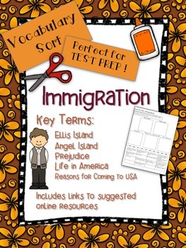 Immigration Vocabulary Word Sort