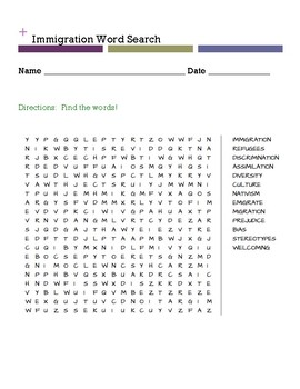 Immigration Word Search