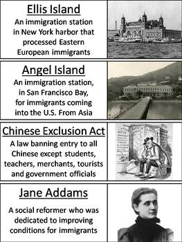 Immigration to America Word Wall Cards