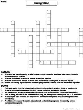 Immigration Worksheet/ Crossword Puzzle