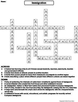 Immigration to America Worksheet/ Crossword Puzzle