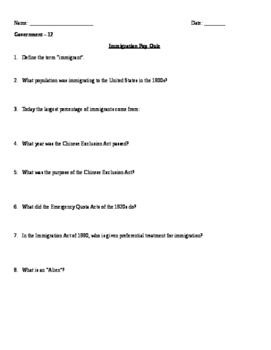 Immigration Worksheet Quiz