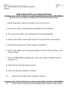 Immigration and DACA- Guiding Questions- Why Ending DACA is so Unprecedented
