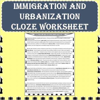 Immigration and Urbanization Cloze Worksheet