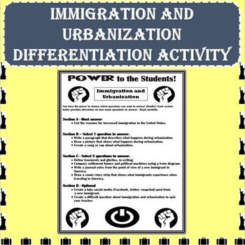 Immigration and Urbanization Differentiation Activity - Po