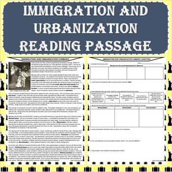 Immigration and Urbanization Reading Passage with Response Worksheet