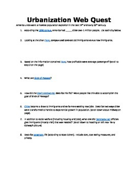 Immigration and Urbanization Web Quest