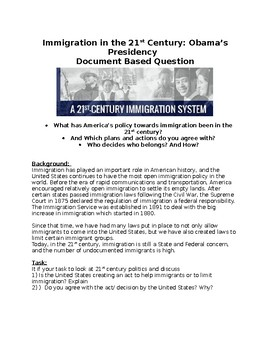Immigration during Obama's Presidency - Document Based Question