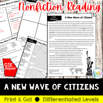 Immigration in the 1900s Reading and Writing Activity (SS5H1)