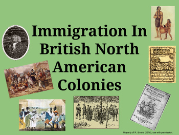 Immigration in the Colonies - Critical Thinking and Writin