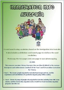 Immigration into Australia Wordsearch