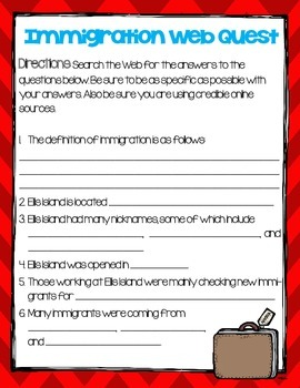 Immigration/Ellis Island Cloze Activity Web Quest- Grades 4-6