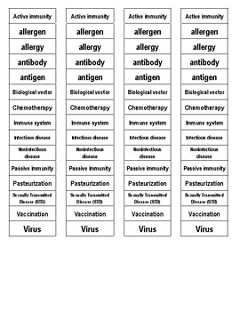 Immune System Cut-n-Paste Vocabulary
