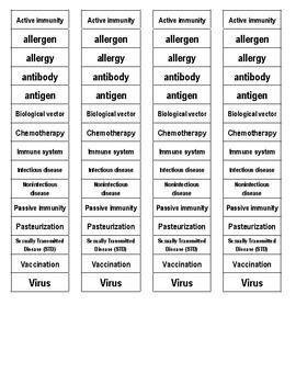 Immune System Cut-n-Paste Vocabulary