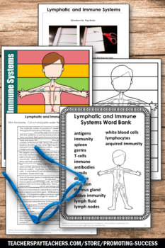 Immune System & Lymphatic System Human Body Systems Interactive Notebook