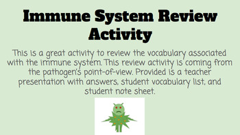 Immune System Review Activity