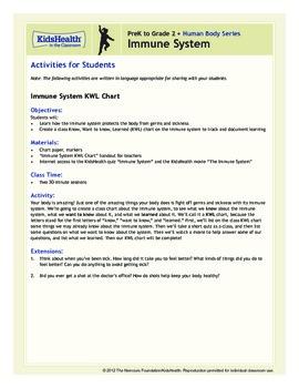 Immune System Teacher's Guide (Pre-K to Grade 2)