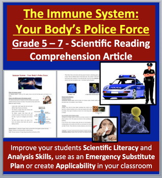 Immune System – Your Body's Police Force - Science Reading Article - Grades 5-7