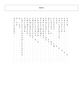 Immune System and Disease Word Search Puzzle with key