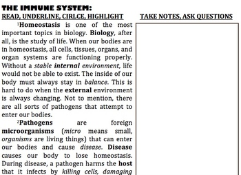 Immune System introduction reading lesson