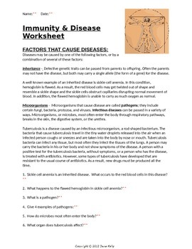 Immunity and Disease Worksheet with KEY