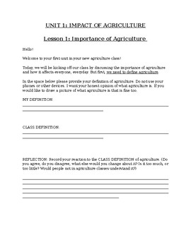 Impact of Agriculture Interactive Notebook Unit