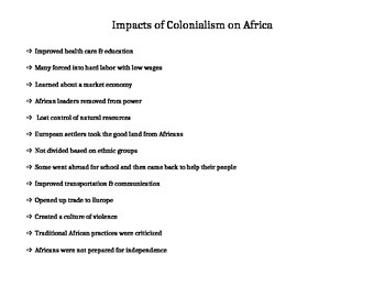 Impact of Colonialism on Africa