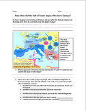 Impact of Fall of Rome and Beginning of Dark Ages Worksheet