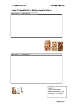 Impact of Physical Activity Work Book - muscular and skeletal system