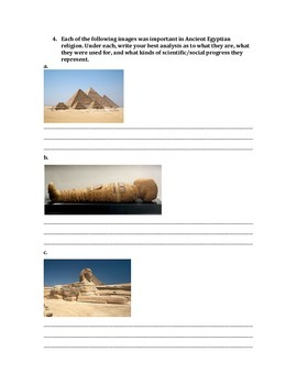 Impact of Religion on Ancient Egyptian Society - Worksheet/Lesson