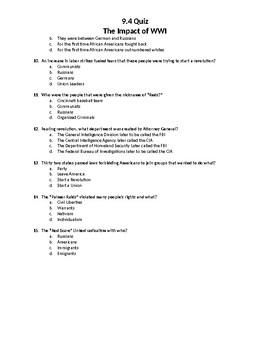 Impact of WWI on United States Quiz