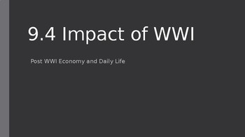 Impact of WWI on the United States Home Front