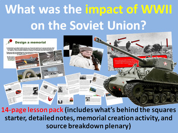 Impact of WWII on USSR - 14-page full lesson (starter, notes, task, plenary)